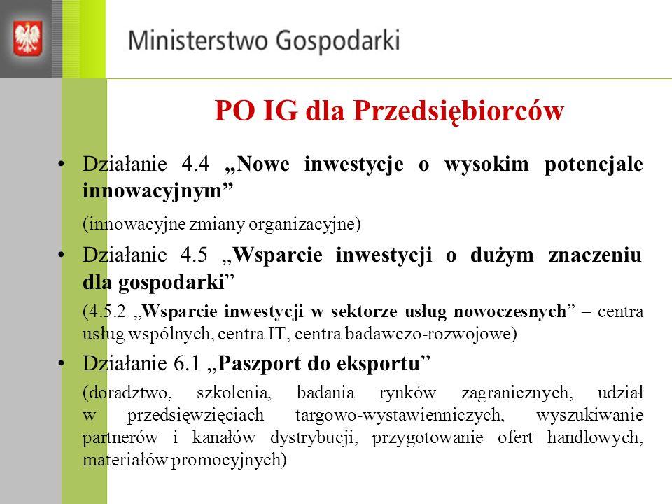 PO IG dla Przedsiębiorców Działanie 4.4 Nowe inwestycje o wysokim potencjale innowacyjnym (innowacyjne zmiany organizacyjne) Działanie 4.5 Wsparcie inwestycji o dużym znaczeniu dla gospodarki (4.5.2 Wsparcie inwestycji w sektorze usług nowoczesnych – centra usług wspólnych, centra IT, centra badawczo-rozwojowe) Działanie 6.1 Paszport do eksportu (doradztwo, szkolenia, badania rynków zagranicznych, udział w przedsięwzięciach targowo-wystawienniczych, wyszukiwanie partnerów i kanałów dystrybucji, przygotowanie ofert handlowych, materiałów promocyjnych)