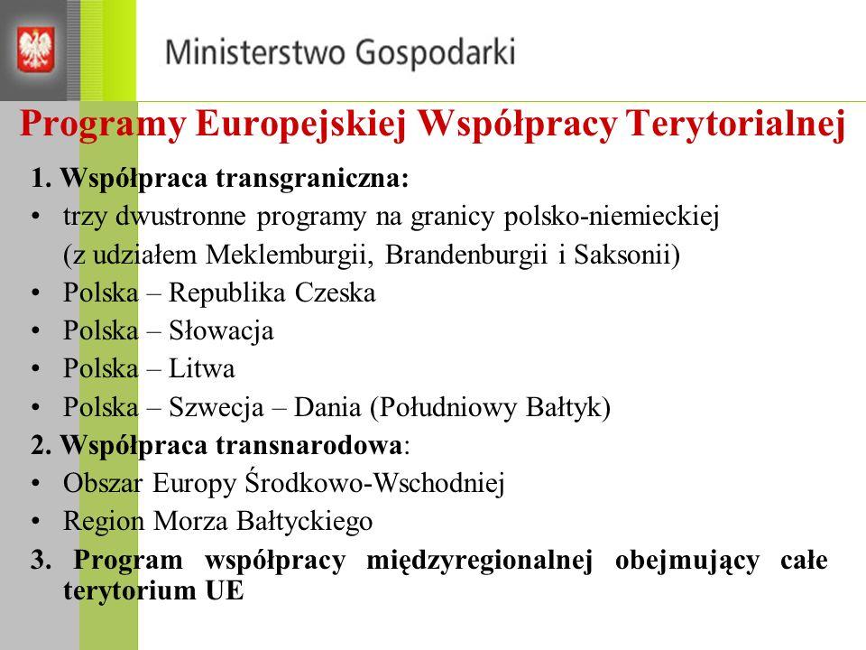 Programy Europejskiej Współpracy Terytorialnej 1.
