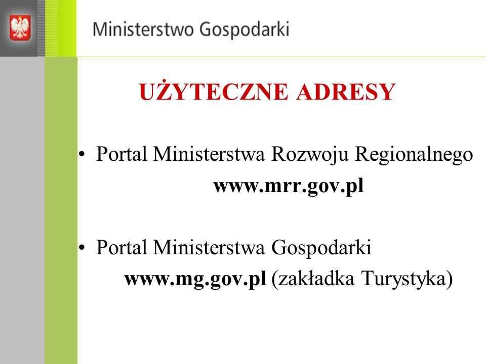 UŻYTECZNE ADRESY Portal Ministerstwa Rozwoju Regionalnego www.mrr.gov.pl Portal Ministerstwa Gospodarki www.mg.gov.pl (zakładka Turystyka)