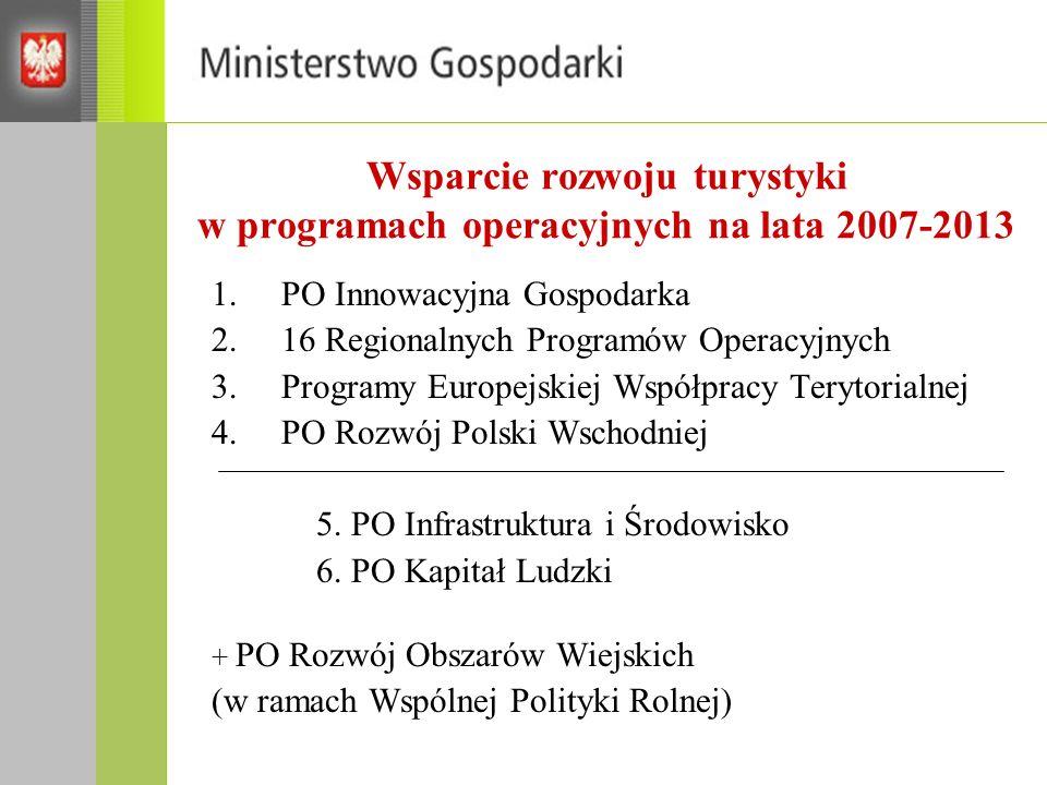 Wsparcie rozwoju turystyki w programach operacyjnych na lata 2007-2013 1.PO Innowacyjna Gospodarka 2.16 Regionalnych Programów Operacyjnych 3.Programy Europejskiej Współpracy Terytorialnej 4.PO Rozwój Polski Wschodniej 5.