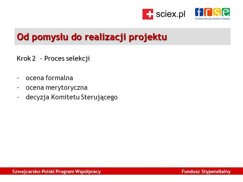 Szwajcarsko-Polski Program Współpracy Fundusz Stypendialny Od pomysłu do realizacji projektu Krok 2 - Proces selekcji -ocena formalna -ocena merytoryczna -decyzja Komitetu Sterującego