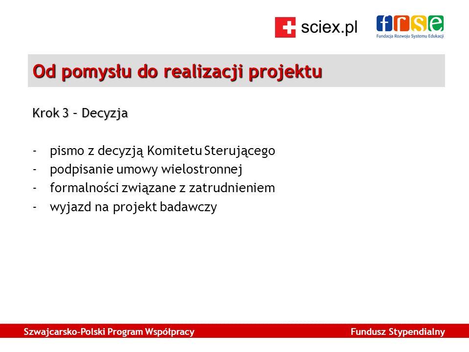 Szwajcarsko-Polski Program Współpracy Fundusz Stypendialny Od pomysłu do realizacji projektu Krok 3 – Decyzja -pismo z decyzją Komitetu Sterującego -podpisanie umowy wielostronnej -formalności związane z zatrudnieniem -wyjazd na projekt badawczy