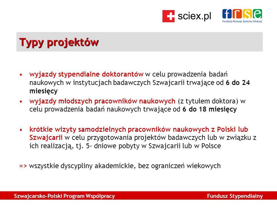 Szwajcarsko-Polski Program Współpracy Fundusz Stypendialny Typy projektów wyjazdy stypendialne doktorantów w celu prowadzenia badań naukowych w instytucjach badawczych Szwajcarii trwające od 6 do 24 miesięcy wyjazdy młodszych pracowników naukowych (z tytułem doktora) w celu prowadzenia badań naukowych trwające od 6 do 18 miesięcy krótkie wizyty samodzielnych pracowników naukowych z Polski lub Szwajcarii w celu przygotowania projektów badawczych lub w związku z ich realizacją, tj.