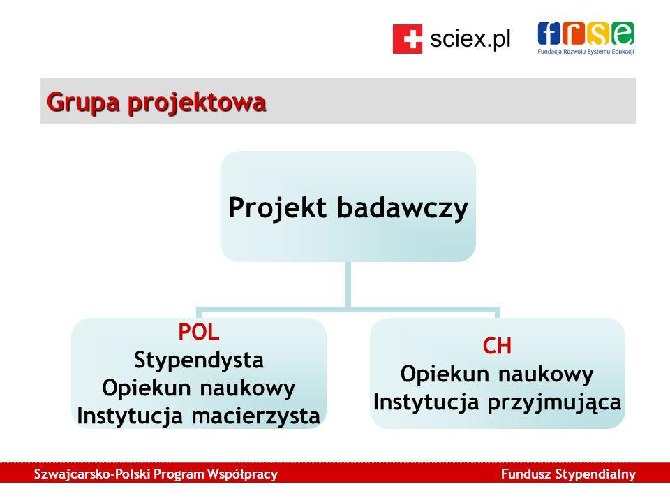 Szwajcarsko-Polski Program Współpracy Fundusz Stypendialny Grupa projektowa Projekt badawczy POL Stypendysta Opiekun naukowy Instytucja macierzysta CH Opiekun naukowy Instytucja przyjmująca