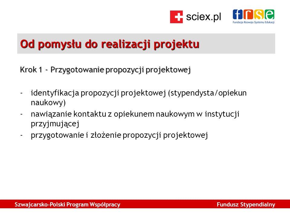 Szwajcarsko-Polski Program Współpracy Fundusz Stypendialny Od pomysłu do realizacji projektu Krok 1 - Przygotowanie propozycji projektowej -identyfikacja propozycji projektowej (stypendysta/opiekun naukowy) -nawiązanie kontaktu z opiekunem naukowym w instytucji przyjmującej -przygotowanie i złożenie propozycji projektowej