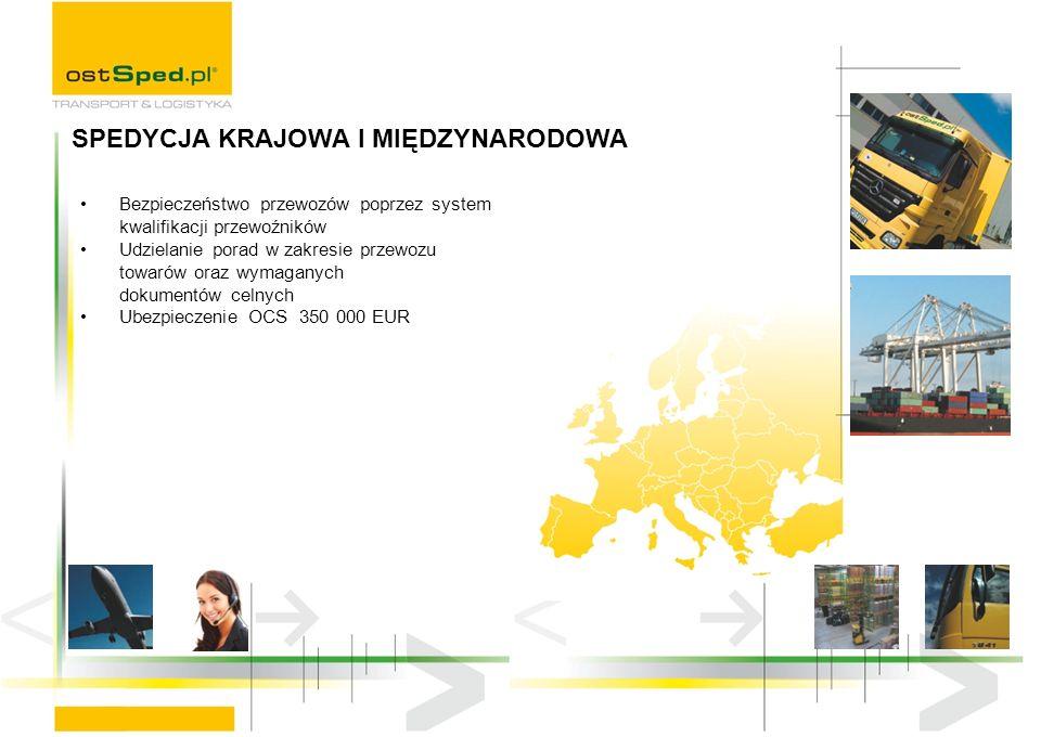 Bezpieczeństwo przewozów poprzez system kwalifikacji przewoźników Udzielanie porad w zakresie przewozu towarów oraz wymaganych dokumentów celnych Ubezpieczenie OCS 350 000 EUR SPEDYCJA KRAJOWA I MIĘDZYNARODOWA