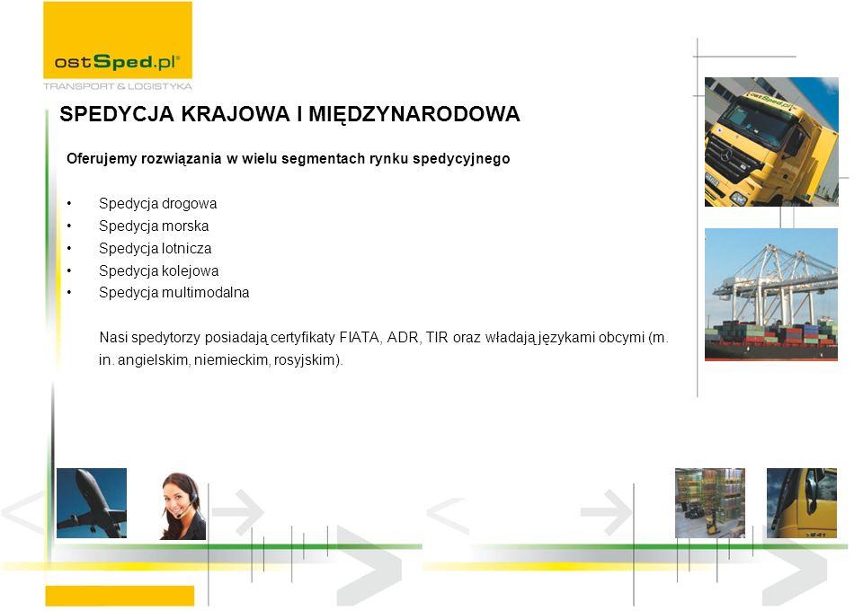 Oferujemy rozwiązania w wielu segmentach rynku spedycyjnego Spedycja drogowa Spedycja morska Spedycja lotnicza Spedycja kolejowa Spedycja multimodalna Nasi spedytorzy posiadają certyfikaty FIATA, ADR, TIR oraz władają językami obcymi (m.