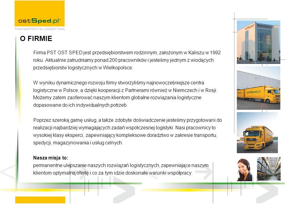 Firma PST OST SPED jest przedsiębiorstwem rodzinnym, założonym w Kaliszu w 1992 roku.