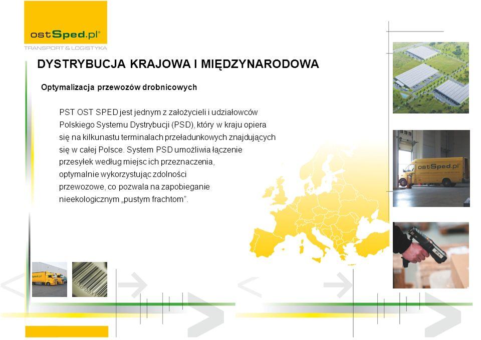 Optymalizacja przewozów drobnicowych PST OST SPED jest jednym z założycieli i udziałowców Polskiego Systemu Dystrybucji (PSD), który w kraju opiera się na kilkunastu terminalach przeładunkowych znajdujących się w całej Polsce.