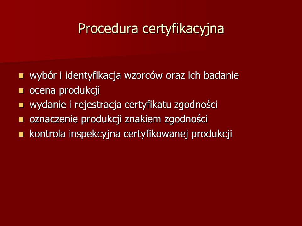 Procedura certyfikacyjna wybór i identyfikacja wzorców oraz ich badanie wybór i identyfikacja wzorców oraz ich badanie ocena produkcji ocena produkcji