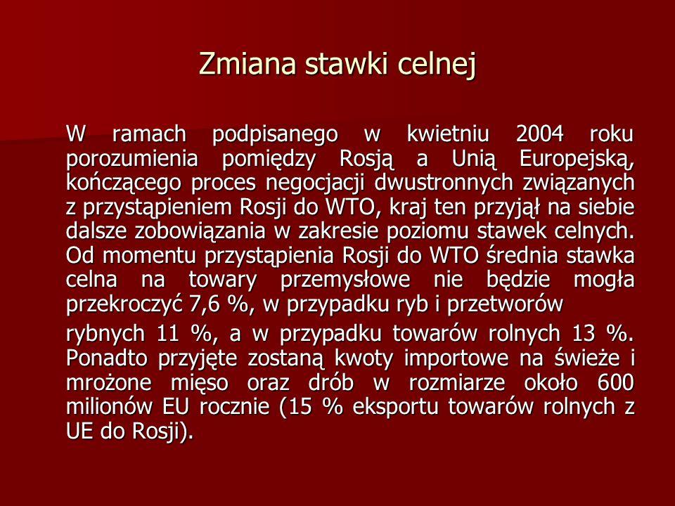 Zmiana stawki celnej W ramach podpisanego w kwietniu 2004 roku porozumienia pomiędzy Rosją a Unią Europejską, kończącego proces negocjacji dwustronnyc