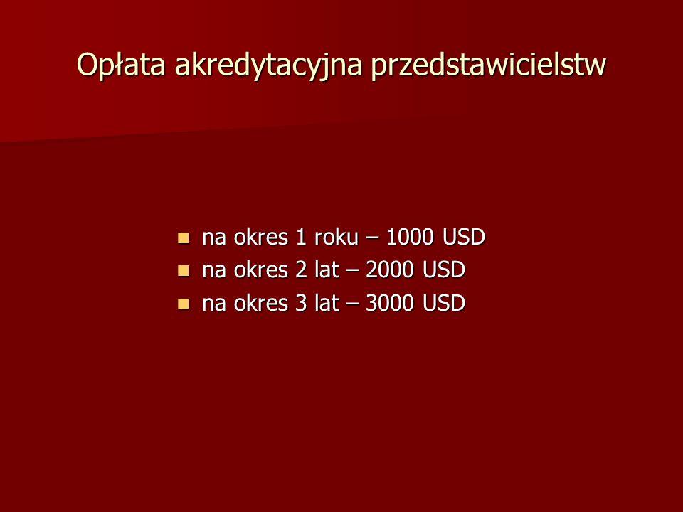 Opłata akredytacyjna przedstawicielstw na okres 1 roku – 1000 USD na okres 1 roku – 1000 USD na okres 2 lat – 2000 USD na okres 2 lat – 2000 USD na ok