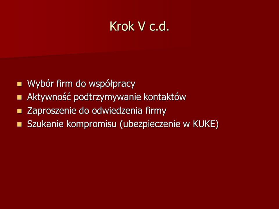 Krok V c.d. Wybór firm do współpracy Wybór firm do współpracy Aktywność podtrzymywanie kontaktów Aktywność podtrzymywanie kontaktów Zaproszenie do odw