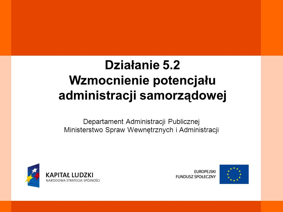 Celem Działania jest wzrost jakości usług publicznych świadczonych przez urzędy samorządu terytorialnego oraz poprawa jakości polityk i programów o zasięgu regionalnym i lokalnym Cel Działania 5.2