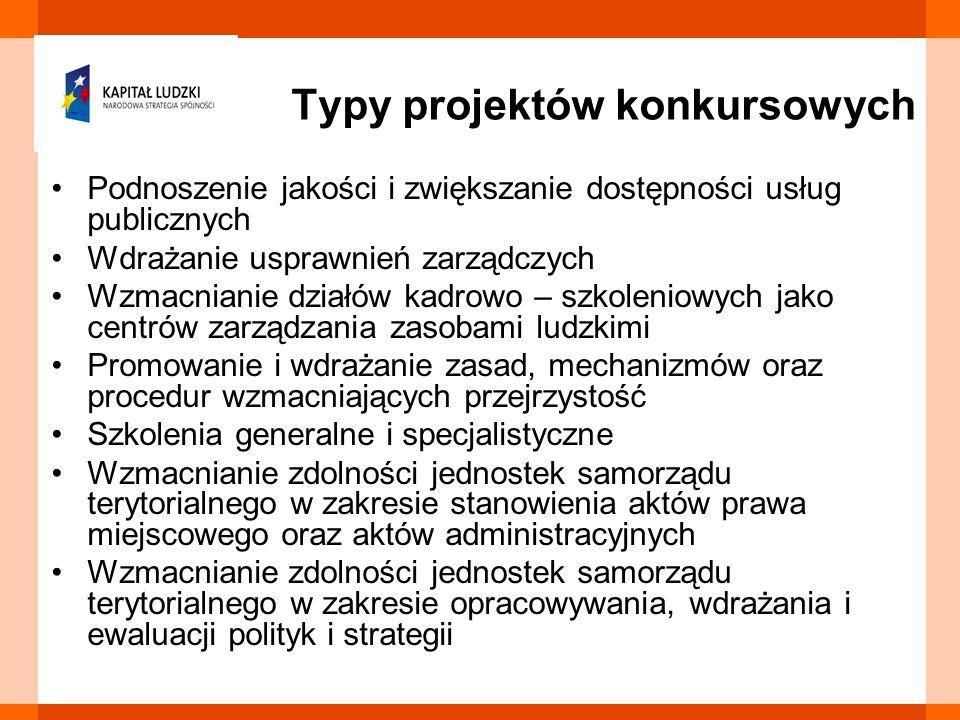 Typy projektów konkursowych Podnoszenie jakości i zwiększanie dostępności usług publicznych Wdrażanie usprawnień zarządczych Wzmacnianie działów kadro