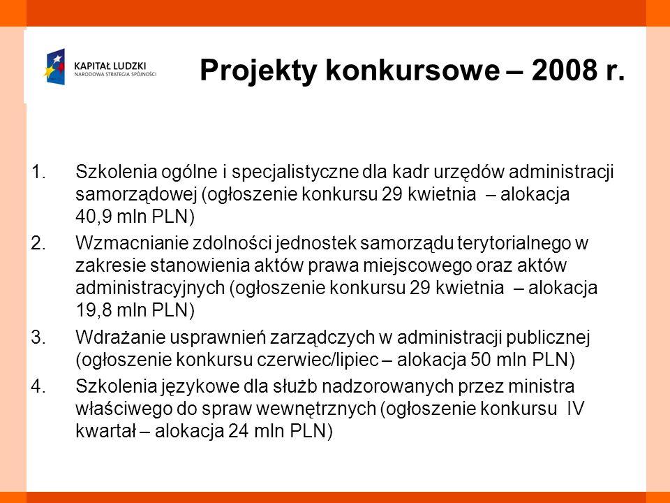 1.Szkolenia ogólne i specjalistyczne dla kadr urzędów administracji samorządowej (ogłoszenie konkursu 29 kwietnia – alokacja 40,9 mln PLN) 2.Wzmacnian