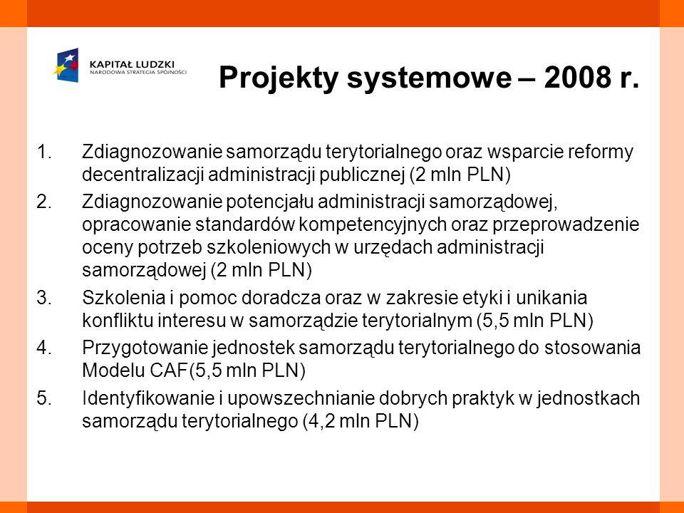 1.Zdiagnozowanie samorządu terytorialnego oraz wsparcie reformy decentralizacji administracji publicznej (2 mln PLN) 2.Zdiagnozowanie potencjału admin