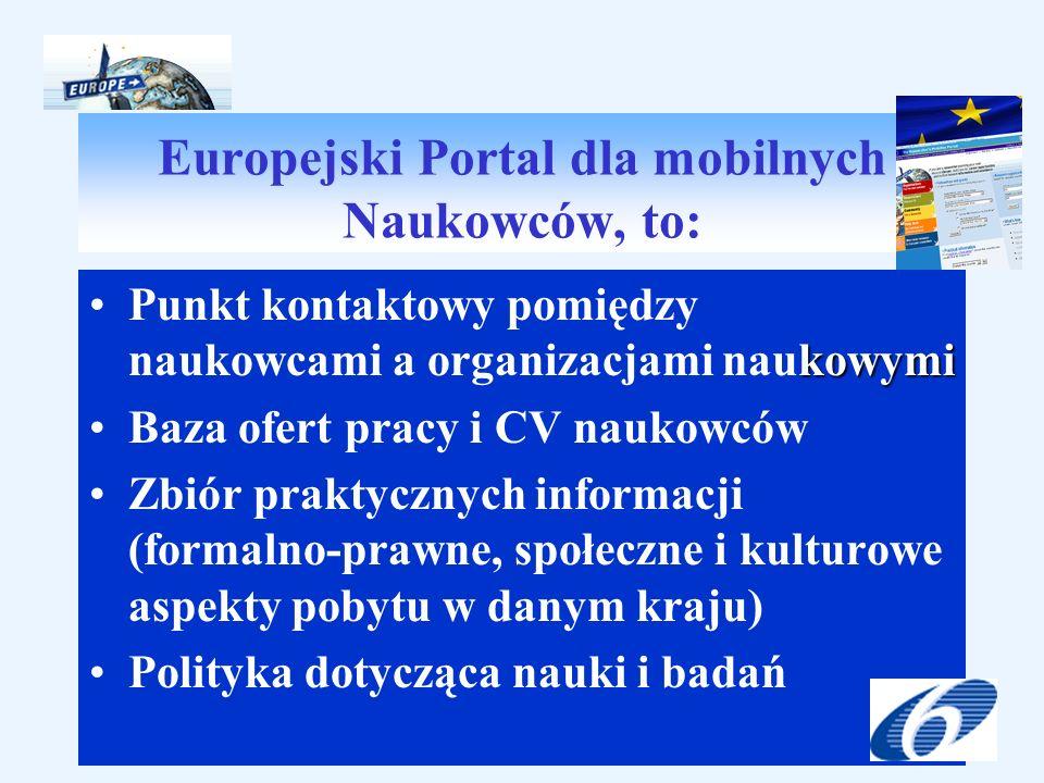 Europejski Portal dla mobilnych Naukowców, to: kowymiPunkt kontaktowy pomiędzy naukowcami a organizacjami naukowymi Baza ofert pracy i CV naukowców Zbiór praktycznych informacji (formalno-prawne, społeczne i kulturowe aspekty pobytu w danym kraju) Polityka dotycząca nauki i badań
