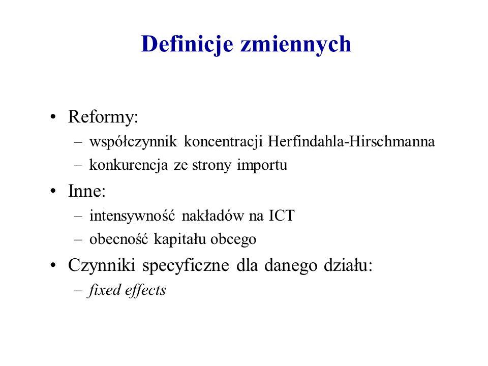 Definicje zmiennych Reformy: –współczynnik koncentracji Herfindahla-Hirschmanna –konkurencja ze strony importu Inne: –intensywność nakładów na ICT –ob