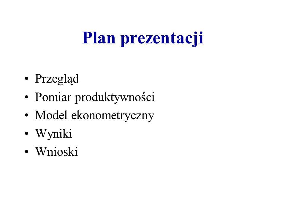 Plan prezentacji Przegląd Pomiar produktywności Model ekonometryczny Wyniki Wnioski