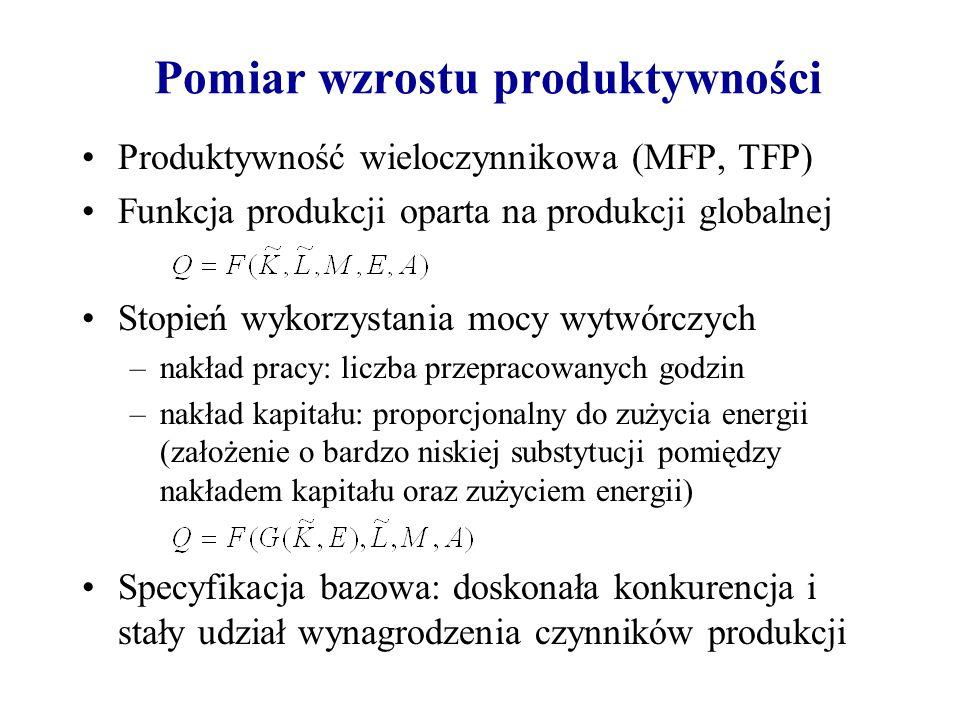 Pomiar wzrostu produktywności Produktywność wieloczynnikowa (MFP, TFP) Funkcja produkcji oparta na produkcji globalnej Stopień wykorzystania mocy wytw
