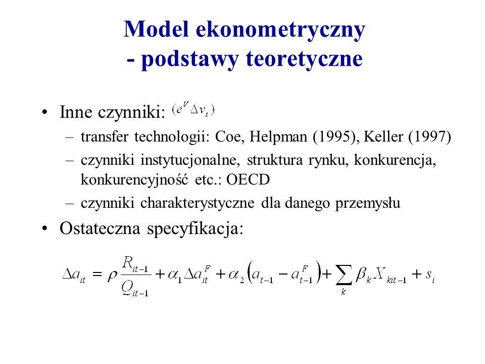 Model ekonometryczny - podstawy teoretyczne Inne czynniki: –transfer technologii: Coe, Helpman (1995), Keller (1997) –czynniki instytucjonalne, strukt