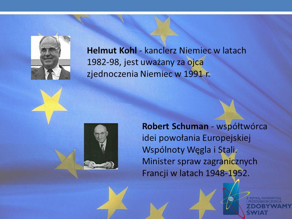 Ojcowie zjednoczonej Europy Konrad Adenauer - pierwszy kanclerz Niemiec po wojnie, współtwórca idei zjednoczonej Europy. Jacques Lucien Delors - przew