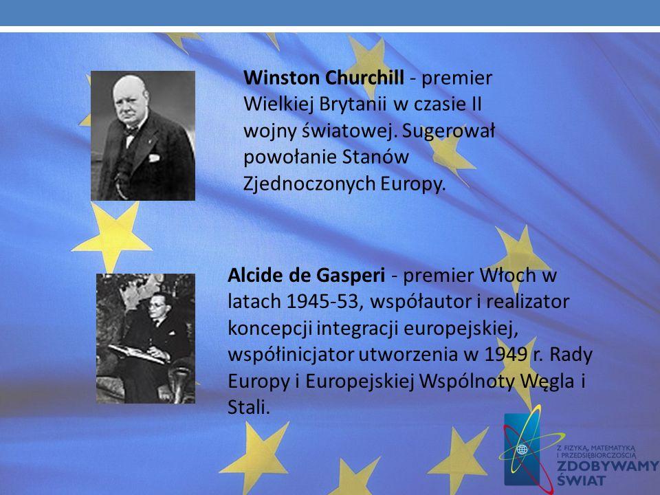 Helmut Kohl - kanclerz Niemiec w latach 1982-98, jest uważany za ojca zjednoczenia Niemiec w 1991 r. Robert Schuman - współtwórca idei powołania Europ