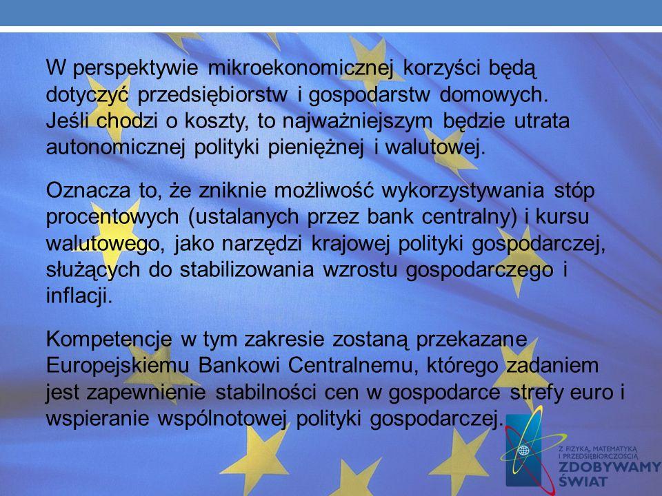 (uzgadniającej kluczowe decyzje gospodarcze dotyczące funkcjonowania strefy euro). Przyczyni się również do wzrostu wiarygodności Polski na arenie mię