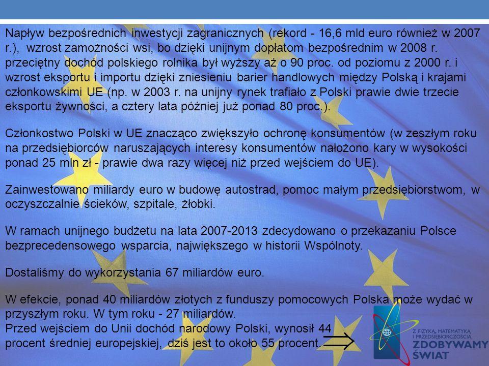SUKCESY Największym sukcesem jest dobra sytuacja gospodarcza Polski, strumień unijnych pieniędzy i inwestycje. W polityce zagranicznej mamy wpływ na d