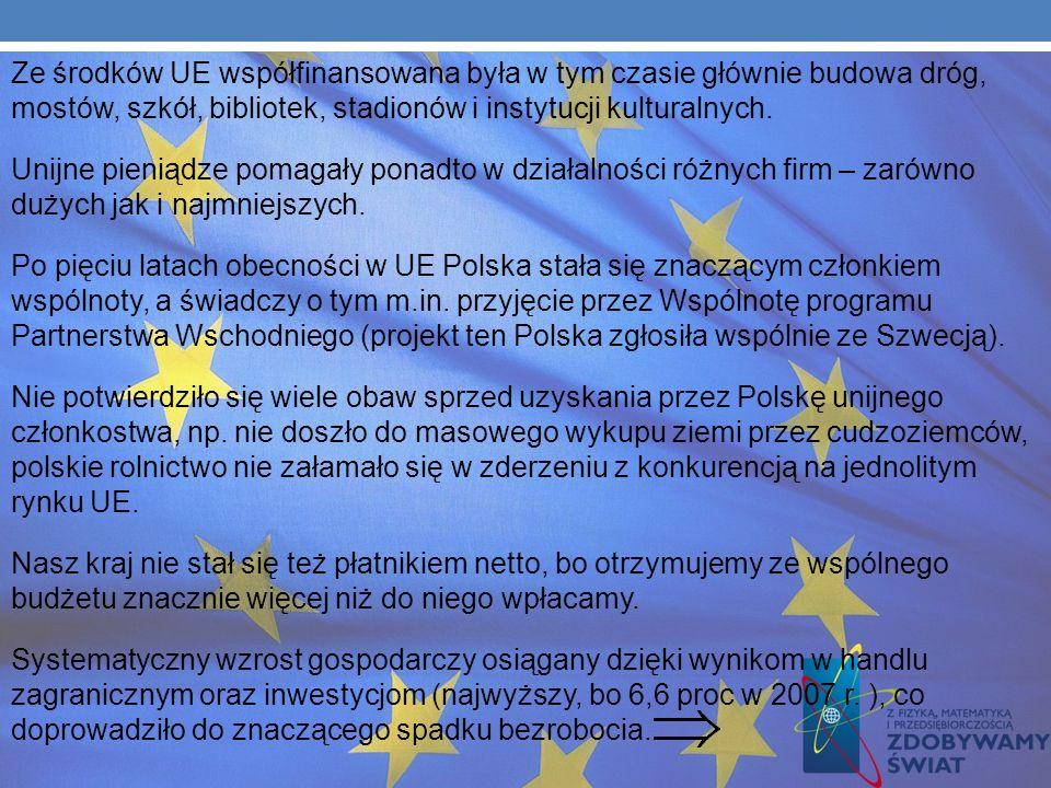 Napływ bezpośrednich inwestycji zagranicznych (rekord - 16,6 mld euro również w 2007 r.), wzrost zamożności wsi, bo dzięki unijnym dopłatom bezpośredn