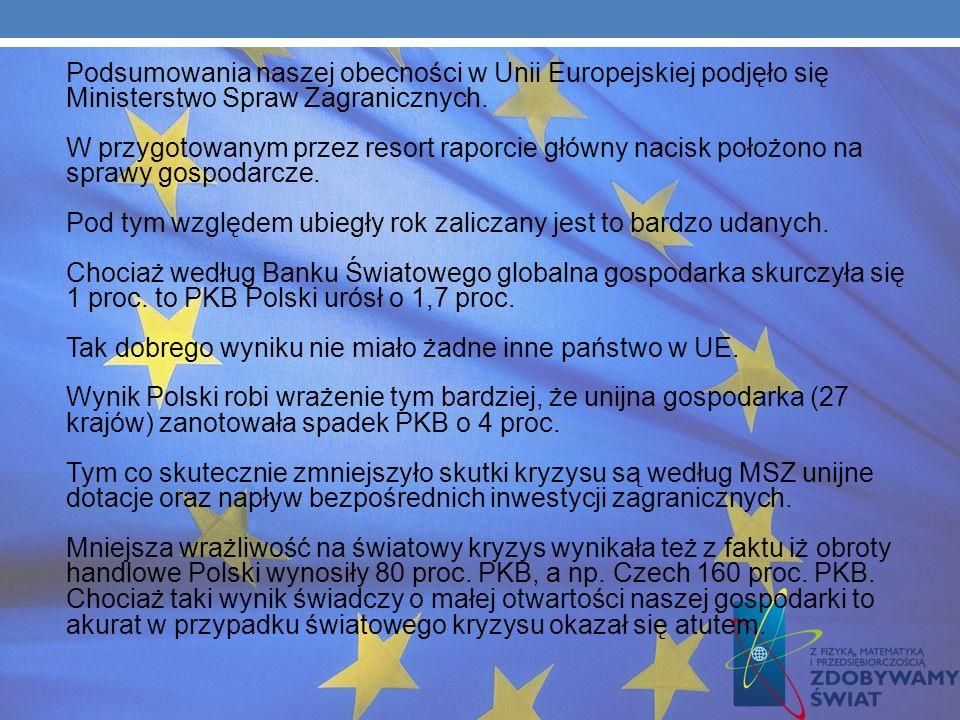Ze środków UE współfinansowana była w tym czasie głównie budowa dróg, mostów, szkół, bibliotek, stadionów i instytucji kulturalnych. Unijne pieniądze