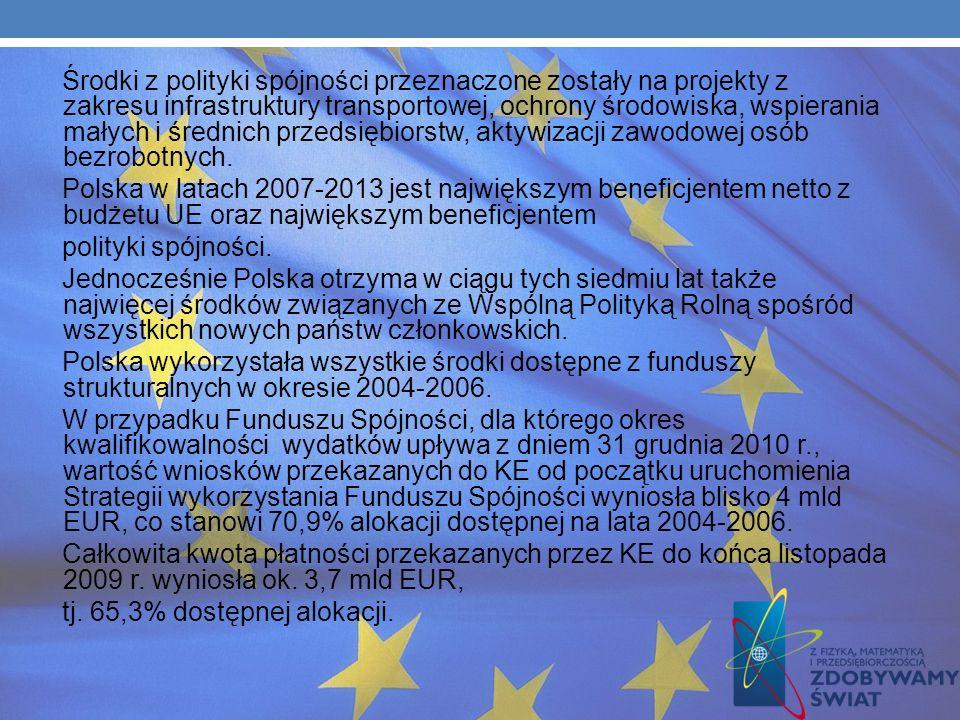FINANSOWY BILANS CZŁONKOWSTWA I WYKORZYSTANIE ŚRODKÓW Z POLITYKI SPÓJNOŚCI UE Ważnym czynnikiem wzrostu gospodarczego Polski w latach 2004–2009, a tak