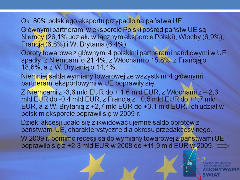 WYMIANA HANDLOWA Rok 2009 przyniósł spadek obrotów handlowych Polski w ramach UE i w skali globalnej. Nastąpił ogólny spadek tempa wymiany zarówno po
