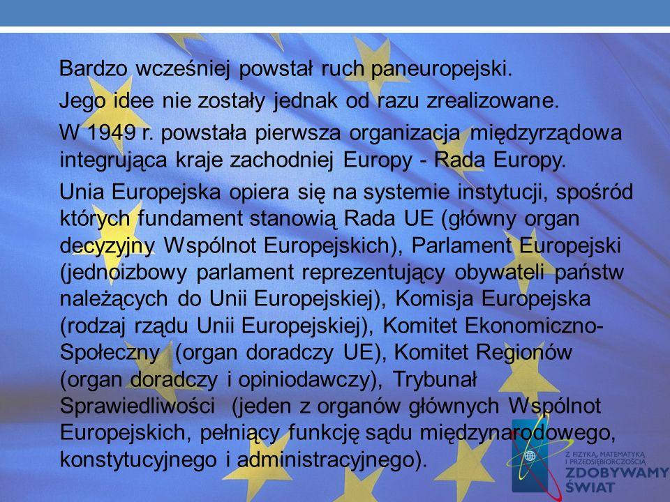 Bardzo wcześniej powstał ruch paneuropejski.Jego idee nie zostały jednak od razu zrealizowane.