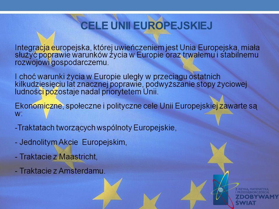 CELE UNII EUROPEJSKIEJ Integracja europejska, której uwieńczeniem jest Unia Europejska, miała służyć poprawie warunków życia w Europie oraz trwałemu i stabilnemu rozwojowi gospodarczemu.