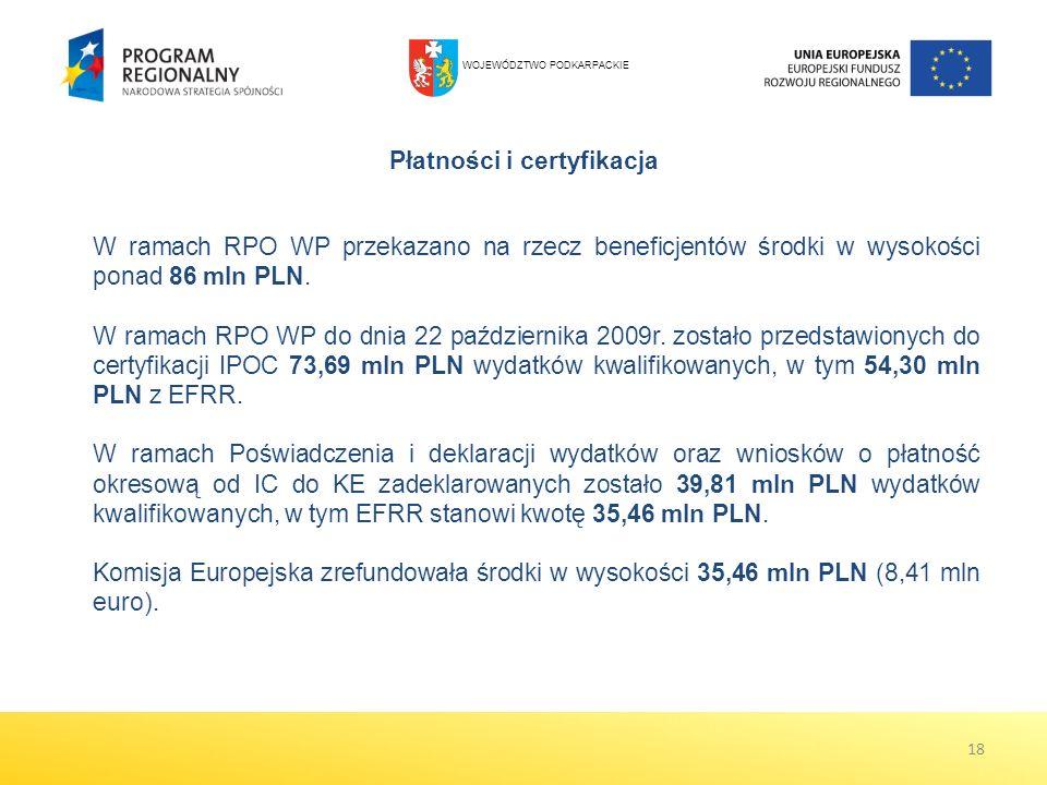 18 Płatności i certyfikacja W ramach RPO WP przekazano na rzecz beneficjentów środki w wysokości ponad 86 mln PLN. W ramach RPO WP do dnia 22 paździer