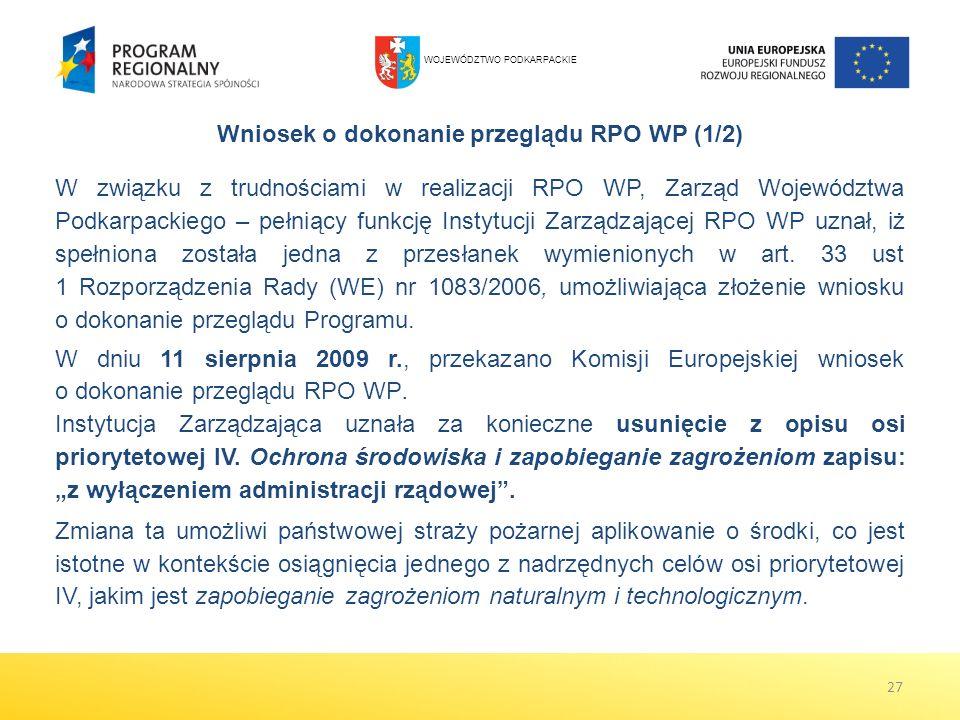 W dniu 11 sierpnia 2009 r., przekazano Komisji Europejskiej wniosek o dokonanie przeglądu RPO WP. Instytucja Zarządzająca uznała za konieczne usunięci