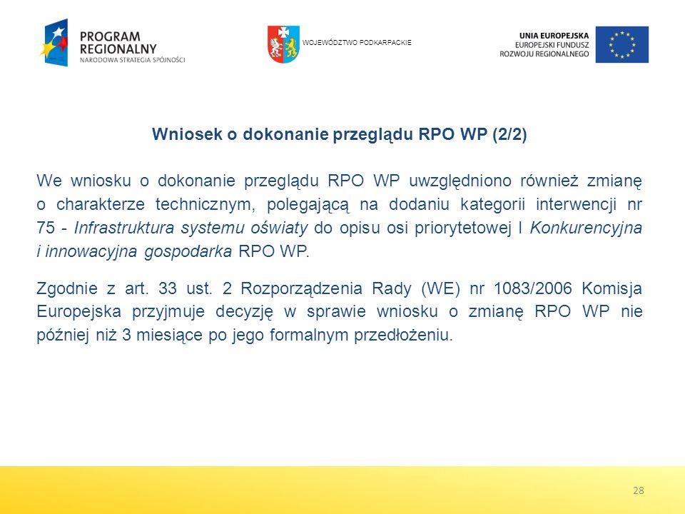 Wniosek o dokonanie przeglądu RPO WP (2/2) We wniosku o dokonanie przeglądu RPO WP uwzględniono również zmianę o charakterze technicznym, polegającą n