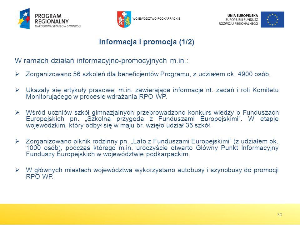Informacja i promocja (1/2) W ramach działań informacyjno-promocyjnych m.in.: Zorganizowano 56 szkoleń dla beneficjentów Programu, z udziałem ok. 4900
