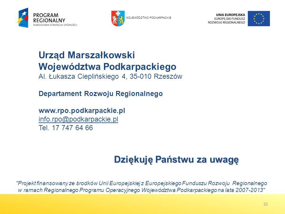 Urząd Marszałkowski Województwa Podkarpackiego Al. Łukasza Cieplińskiego 4, 35-010 Rzeszów Departament Rozwoju Regionalnego www.rpo.podkarpackie.pl in