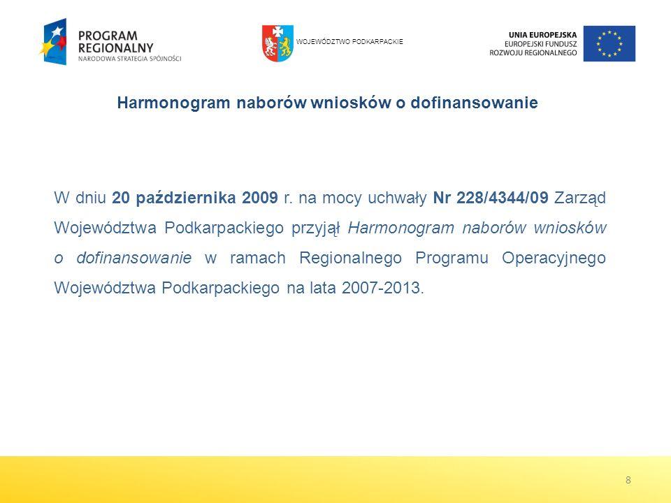 W dniu 20 października 2009 r. na mocy uchwały Nr 228/4344/09 Zarząd Województwa Podkarpackiego przyjął Harmonogram naborów wniosków o dofinansowanie