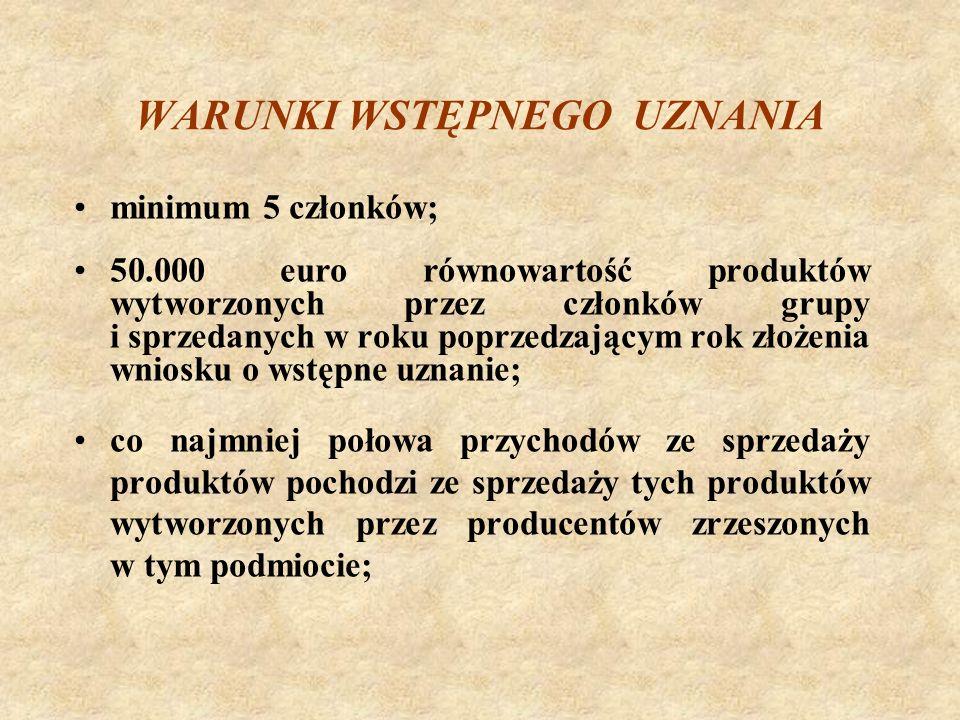 WARUNKI WSTĘPNEGO UZNANIA minimum 5 członków; 50.000 euro równowartość produktów wytworzonych przez członków grupy i sprzedanych w roku poprzedzającym