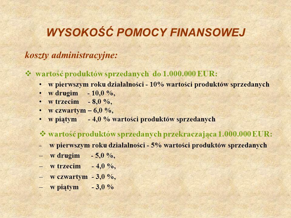 WYSOKOŚĆ POMOCY FINANSOWEJ wartość produktów sprzedanych do 1.000.000 EUR: w pierwszym roku działalności - 10% wartości produktów sprzedanych w drugim
