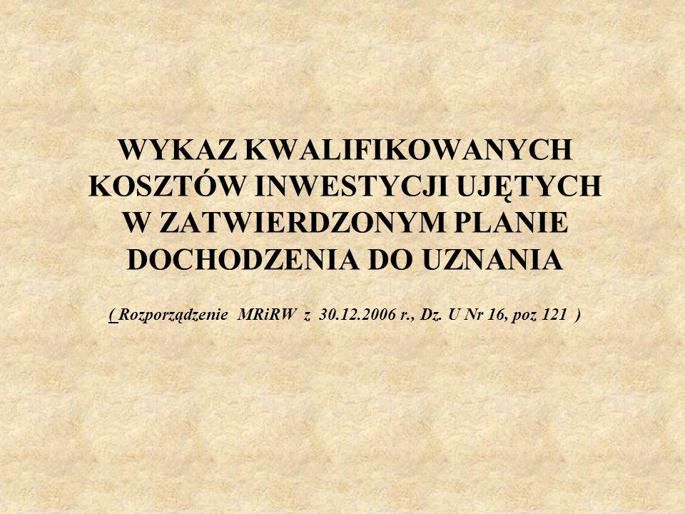 WYKAZ KWALIFIKOWANYCH KOSZTÓW INWESTYCJI UJĘTYCH W ZATWIERDZONYM PLANIE DOCHODZENIA DO UZNANIA ( Rozporządzenie MRiRW z 30.12.2006 r., Dz. U Nr 16, po