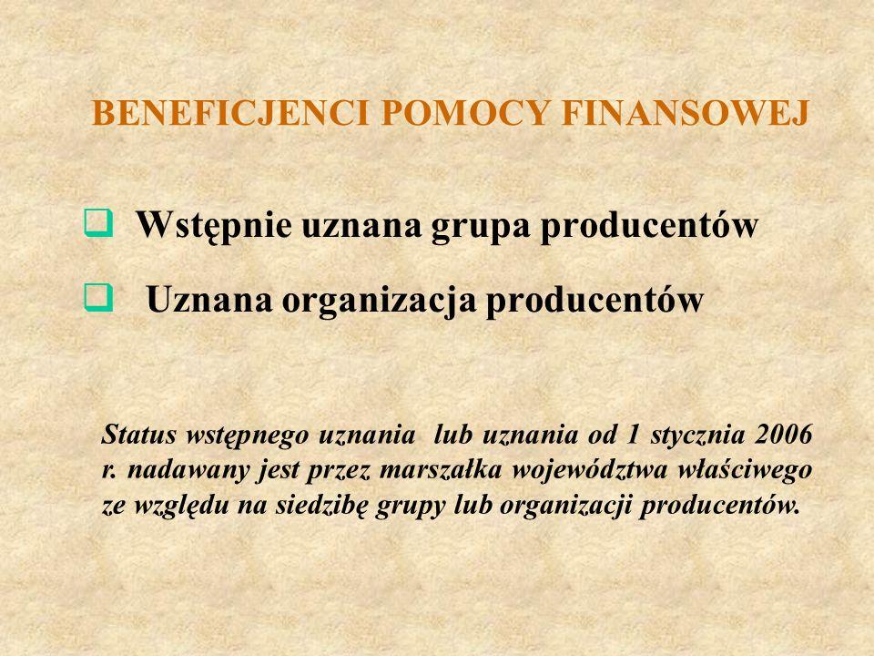 BENEFICJENCI POMOCY FINANSOWEJ Wstępnie uznana grupa producentów Uznana organizacja producentów Status wstępnego uznania lub uznania od 1 stycznia 200