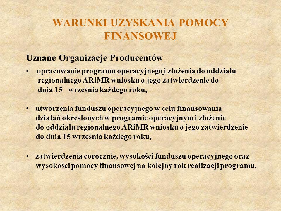 WARUNKI UZYSKANIA POMOCY FINANSOWEJ Uznane Organizacje Producentów - opracowanie programu operacyjnego i złożenia do oddziału regionalnego ARiMR wnios