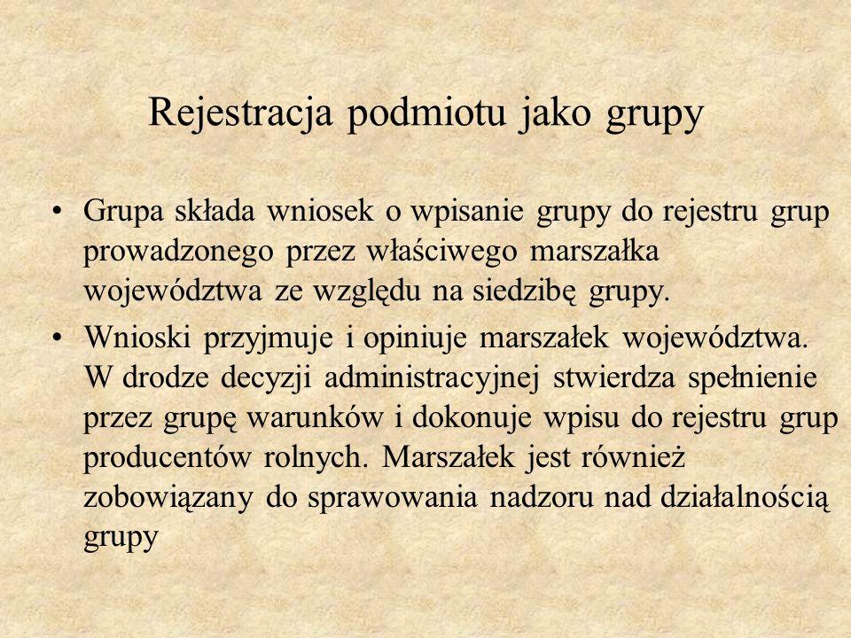 Rejestracja podmiotu jako grupy Grupa składa wniosek o wpisanie grupy do rejestru grup prowadzonego przez właściwego marszałka województwa ze względu