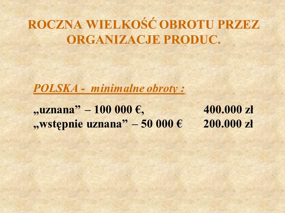 ROCZNA WIELKOŚĆ OBROTU PRZEZ ORGANIZACJE PRODUC. POLSKA - minimalne obroty : uznana – 100 000, 400.000 zł wstępnie uznana – 50 000 200.000 zł