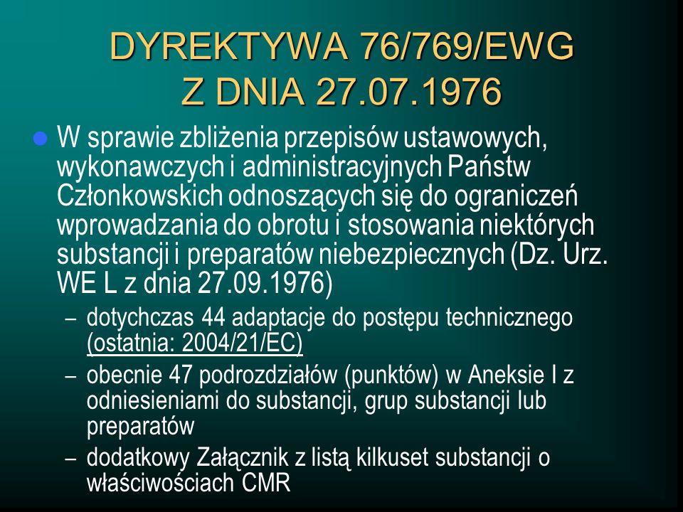 DYREKTYWA 76/769/EWG Z DNIA 27.07.1976 W sprawie zbliżenia przepisów ustawowych, wykonawczych i administracyjnych Państw Członkowskich odnoszących się